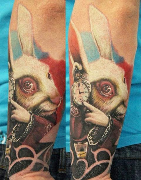 bright color animal tattoos rabbit