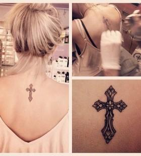cross tattoo in process