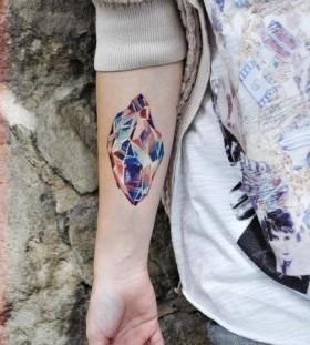 hand tattoo color diamond