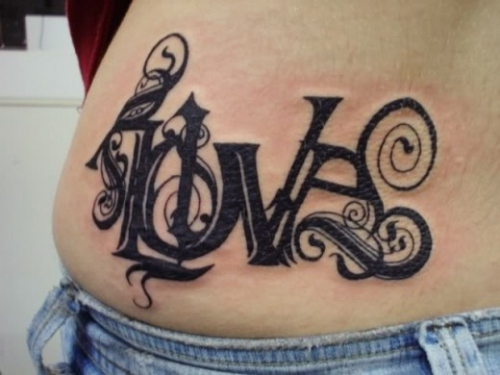 hip tattoo for girl love love