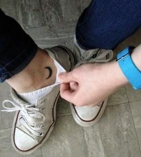 moon tattoo foot