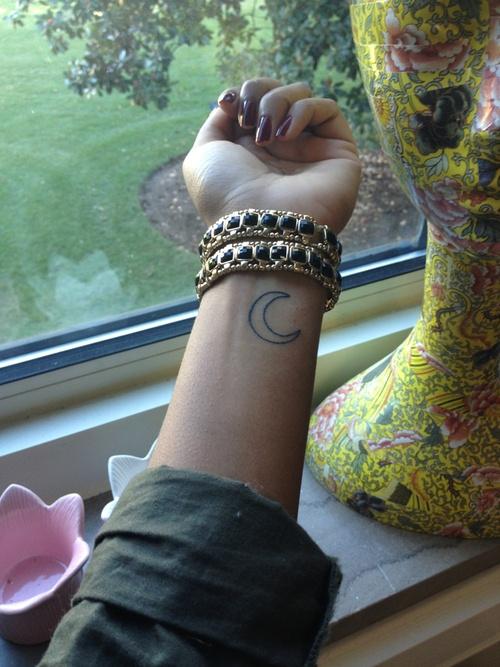 moon tattoo on wrist