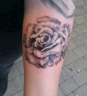 music tattoos musical rose