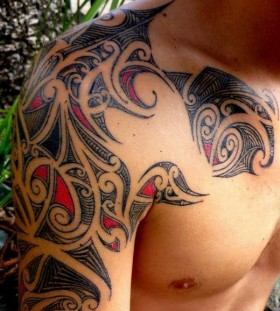 red tribal tattoo beautifully crafted