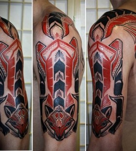 red tribal tattoo fox