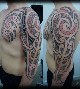 red tribal tattoo full sleeve
