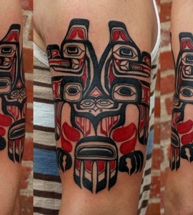 red tribal tattoo mask
