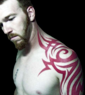 red tribal tattoo shoulder