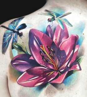 shoulder tattoo dragonfly