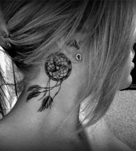 small Dreamcatcher Tattoo ear placement