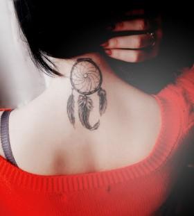 small Dreamcatcher Tattoo neck