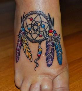 small Dreamcatcher Tattoo on foot