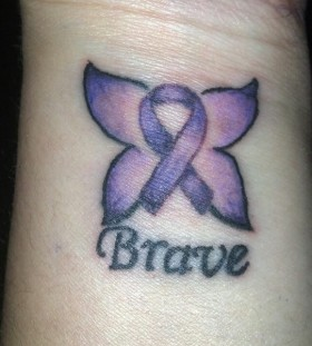 small purple tattoo  brave