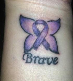 small purple tattoo brave