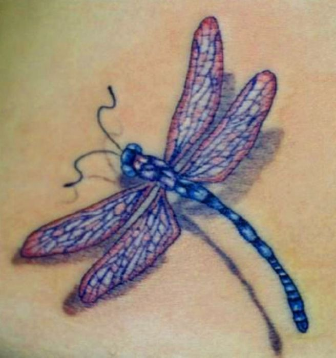 small purple tattoo dragonfly