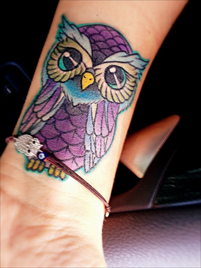 small purple tattoo owl