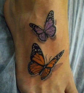 small purple tattoo realistic butterfly