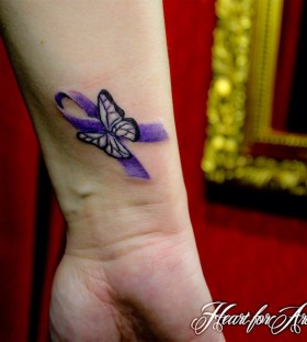 small purple tattoo ribbon butterfly