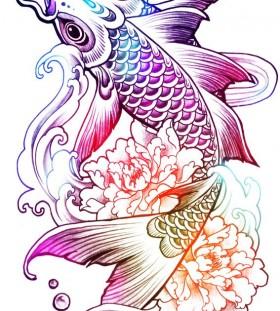tattoo sketch carp peony