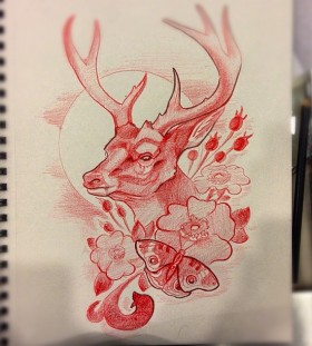 tattoo sketch deer idea
