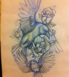 tattoo sketch flying free birds