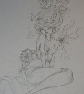 tattoo sketch little mermaid