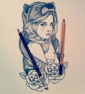 tattoo sketch sweet girl heart of a bear