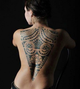 tribal tattoo for girl  back piece