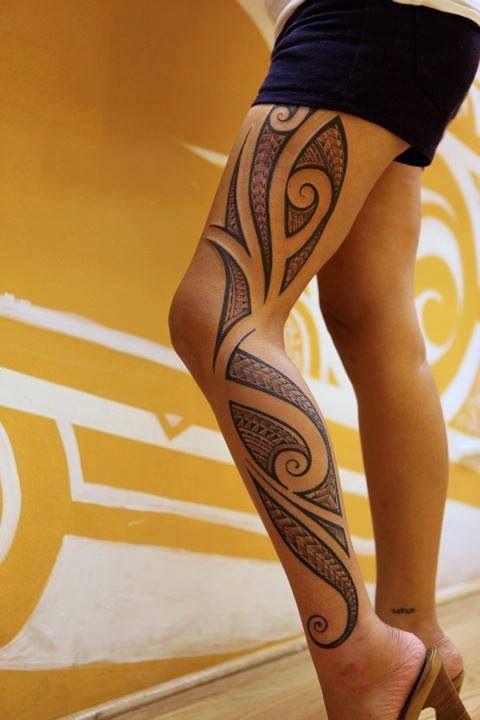 tribal tattoo for girl on leg