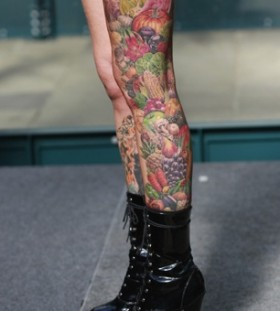 vegetable tattoo and fruit legs