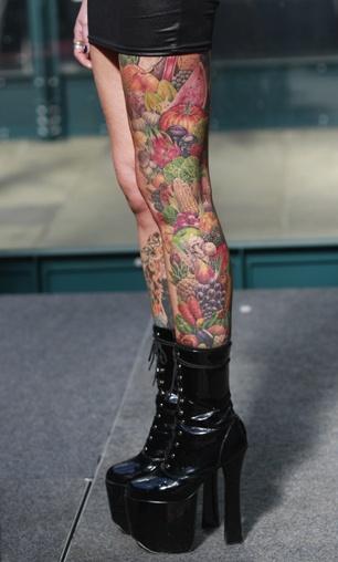 vegetable tattoo and fruit legs