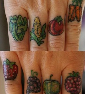 vegetable tattoo on fingers
