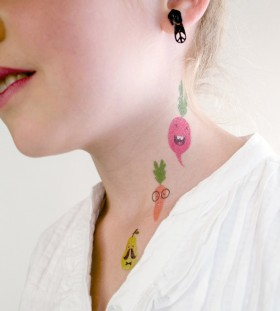 vegetable tattoo on the neck