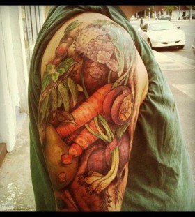 vegetable tattoo shoulder