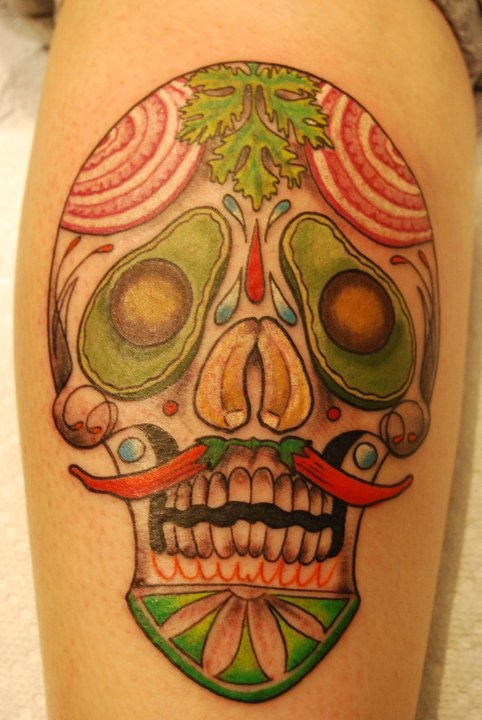 vegetable tattoo skull