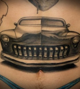 Amazing black car tattoo