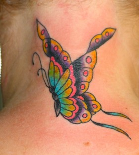 Amazing butterfly on neck