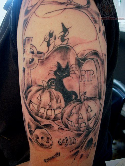 Awesome cat halloween tatoo