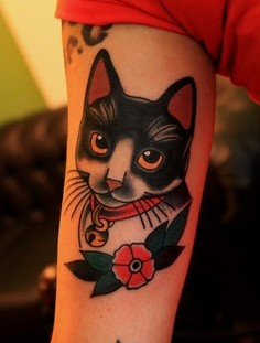 Awesome cat with red rose