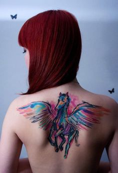 Awesome pegasus tattoo on the back