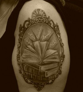 Awesome tattoo with books
