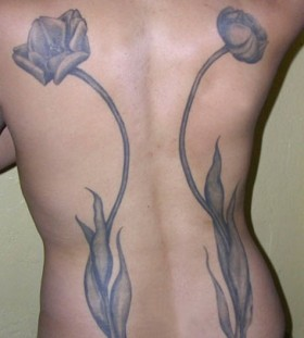 Awesome tulips tattoo on the back