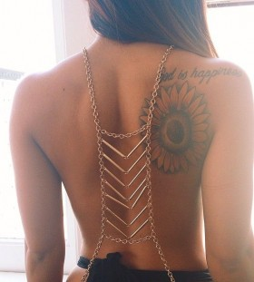 Back sunflower tattoo