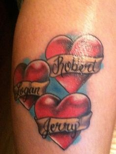 Beautiful red tattoo with names