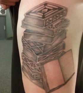 Beautiful tattoo of black books