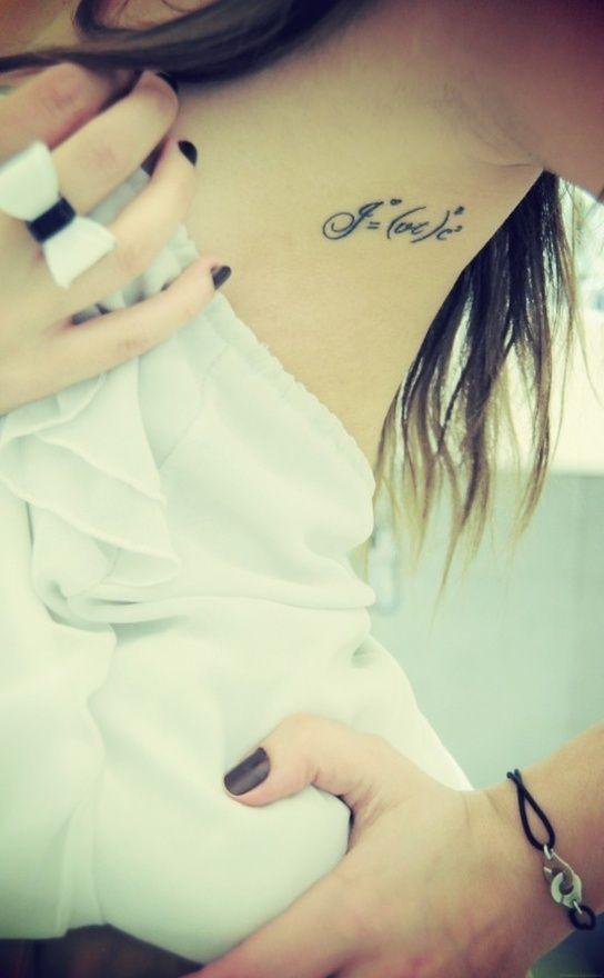 Beautiful woman math tattoos
