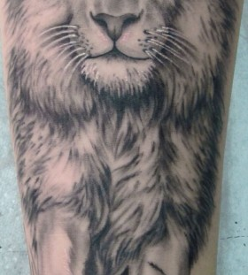 Black and white lion tattoo