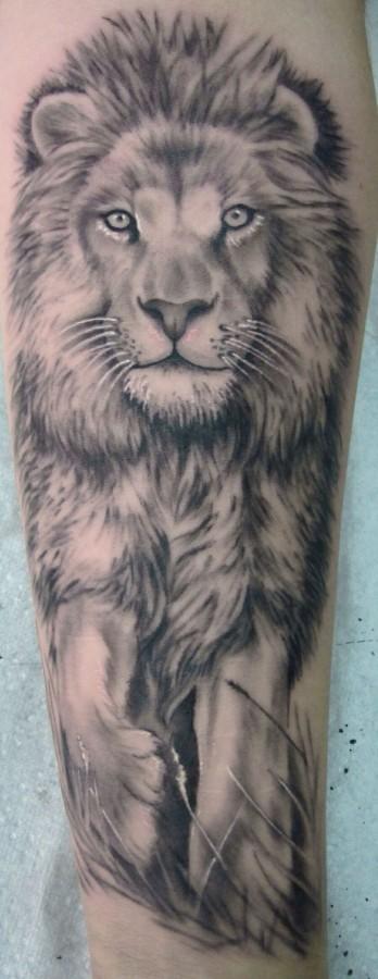 Black and white lion tattoo