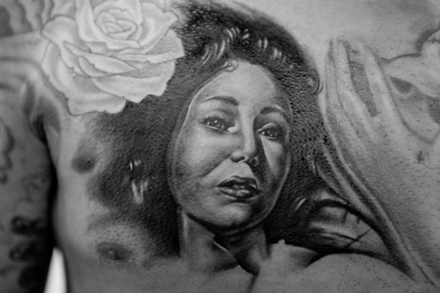 Black and white woman tattoo by Seunghyun JO aka Potter