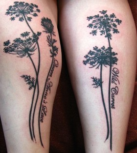 Black plant tattoo